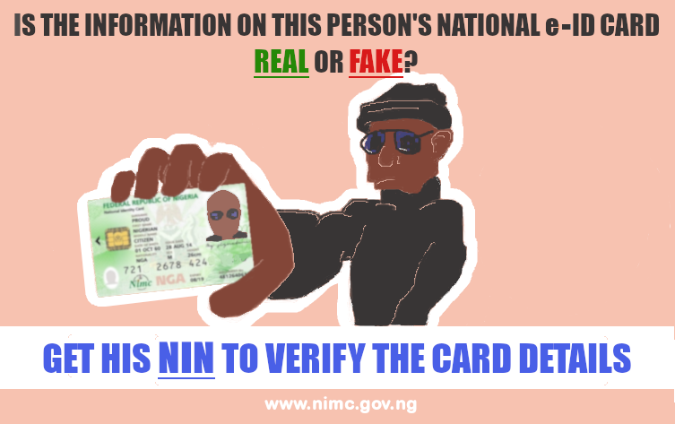 How do you know if the information on a person's e-ID is real or fake? Get his National Identification Number to verify the card details